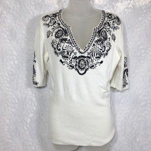 White v-neck NEW NWT M black beaded sweater cache